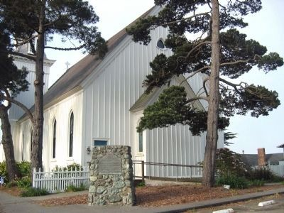 Mendocino Presbyterian Church Marker with Back of Church in Background image. Click for full size.