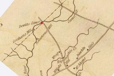 Detail of Mills&#39; 1820 Map of Abbeville District -<br>Showing DeWitt&#39;s Corner image. Click for full size.