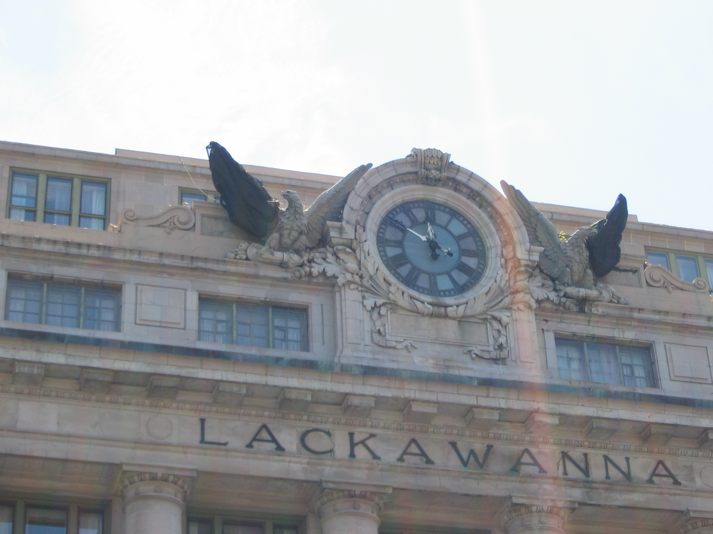 Close up of the Clock and Eagles