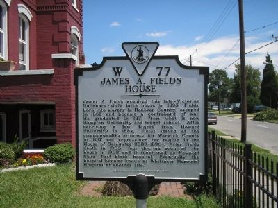James A. Fields House Marker image. Click for full size.