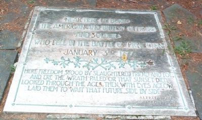 Burial Site of those who fell in the Battle of Princeton Marker image. Click for full size.