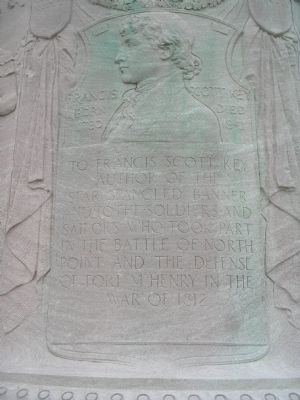 Francis Scott Key Medallion, on the base of the monument. image. Click for full size.