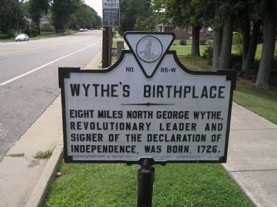 Wythe's Birthplace Marker image. Click for full size.