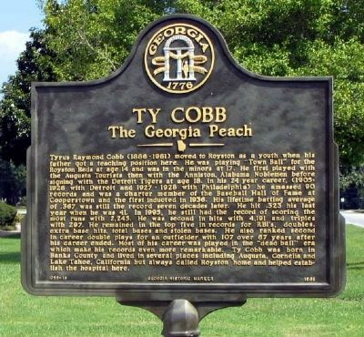 Ty Cobb Marker image. Click for full size.