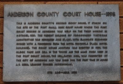 Anderson County Court House -- 1898 Marker image. Click for full size.