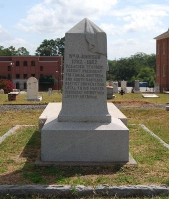 William Bullein Johnson Tombstone -<br>Anderson First Baptist Church Cemetery image. Click for full size.
