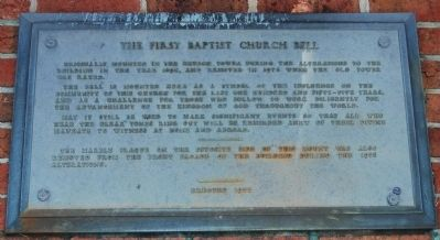 The First Baptist Church Bell Marker image. Click for full size.