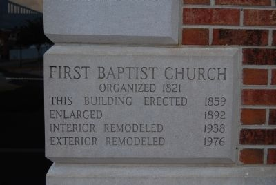 The First Baptist Church Cornerstone image. Click for full size.