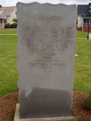 Greer Area Veterans Memorial Marker image. Click for full size.