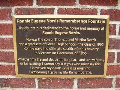 Ronnie Eugene Norris Remembrance Fountain Marker image. Click for full size.