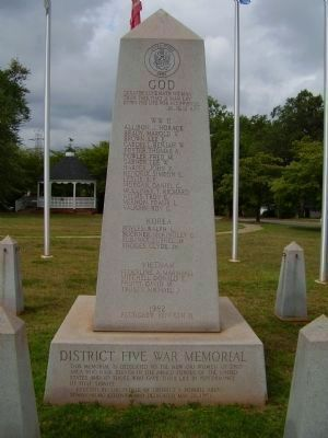 District Five War Memorial Marker image. Click for full size.