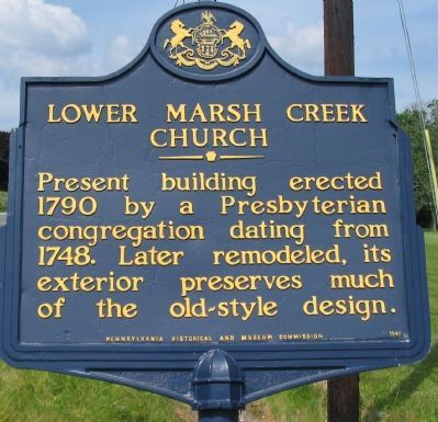 Lower Marsh Creek Church Marker image. Click for full size.