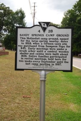 Sandy Springs Camp Ground Marker image. Click for full size.