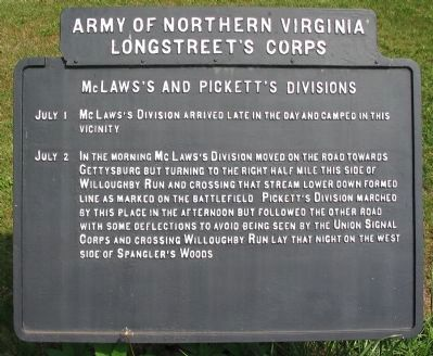 McLaws's and Pickett's Divisions Marker image. Click for full size.