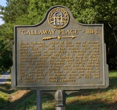 """Callaway Place"" - 1814. Marker image. Click for full size."