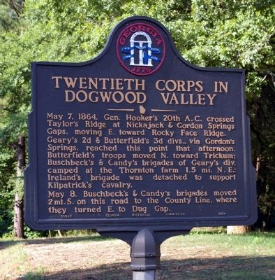 Twentieth Corps in Dogwood Valley Marker image. Click for full size.