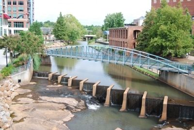 View of Falls Place and the Reedy River from the Gower Bridge image. Click for full size.