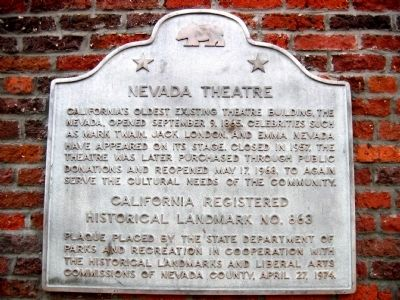 Nevada Theater Marker image. Click for full size.