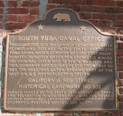 South Yuba Canal Office Marker image. Click for full size.