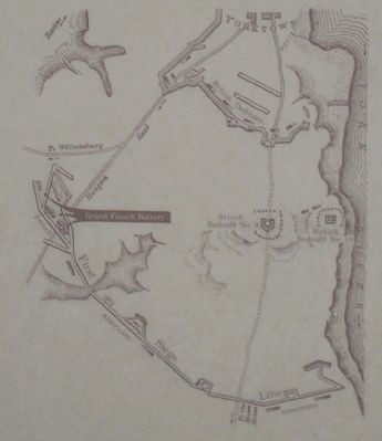 Yorktown Fortifications Map from Marker image. Click for full size.