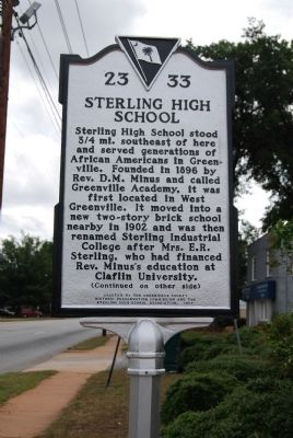 Sterling High School Marker - Front image. Click for full size.