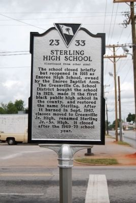 Sterling High School Marker - Reverse image. Click for full size.