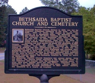 Bethsaida Baptist Church Marker image. Click for full size.