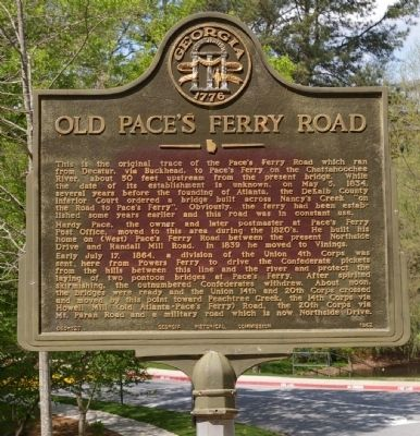 Old Pace's Ferry Road Marker image. Click for full size.