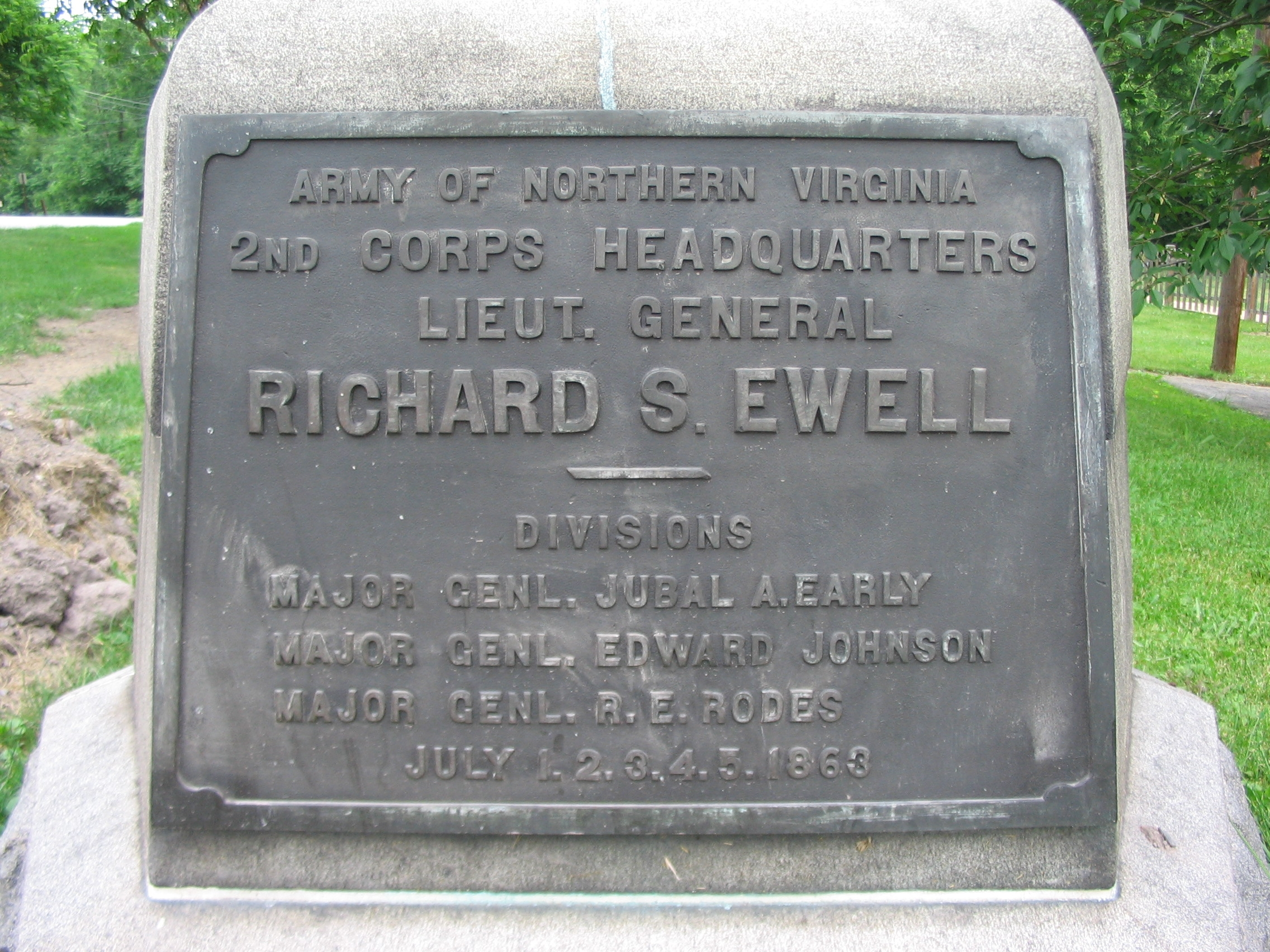 Lieut. General Ewell Headquarters Monument