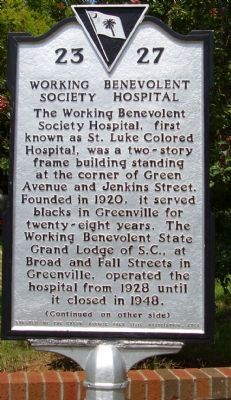 Working Benevolent Society Hospital Marker </b>(front) image. Click for full size.