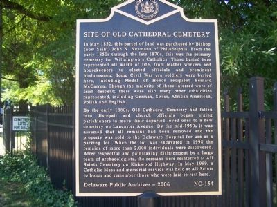 Site of Old Cathedral Cemetery Marker image. Click for full size.