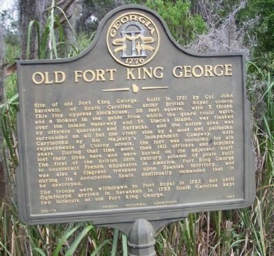Old Fort King George Marker image. Click for full size.