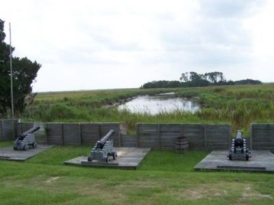 Old Fort King George fortifies Darien River, Back door to Charleston, SC image. Click for full size.