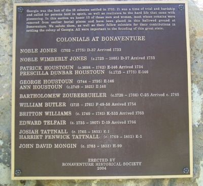 Colonials at Bonaventure Marker image. Click for full size.