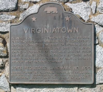 Virginiatown Marker image. Click for full size.