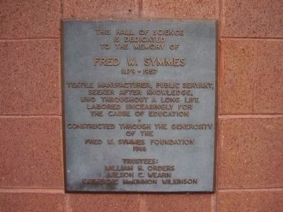 Fred W. Symmes Hall of Science Marker image. Click for full size.