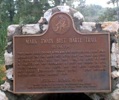 Mark Twain Bret Harte Trail - Big Oak Flat Marker image. Click for full size.