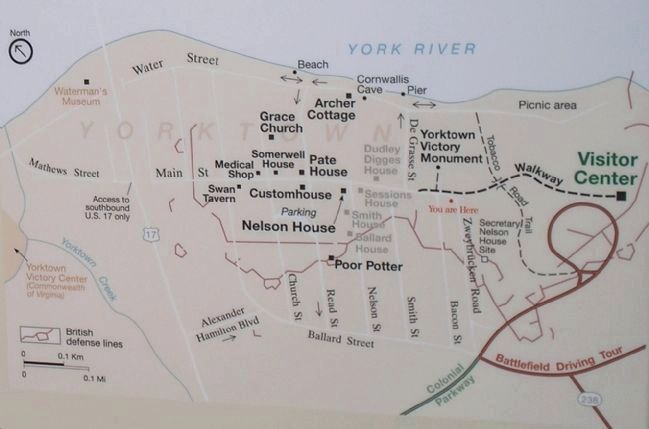 Yorktown Map from Marker image. Click for full size.