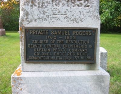 Private Samuel Rogers Plaque image. Click for full size.
