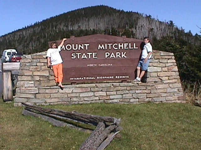 Mt. Mitchell State Park entrance sign.
