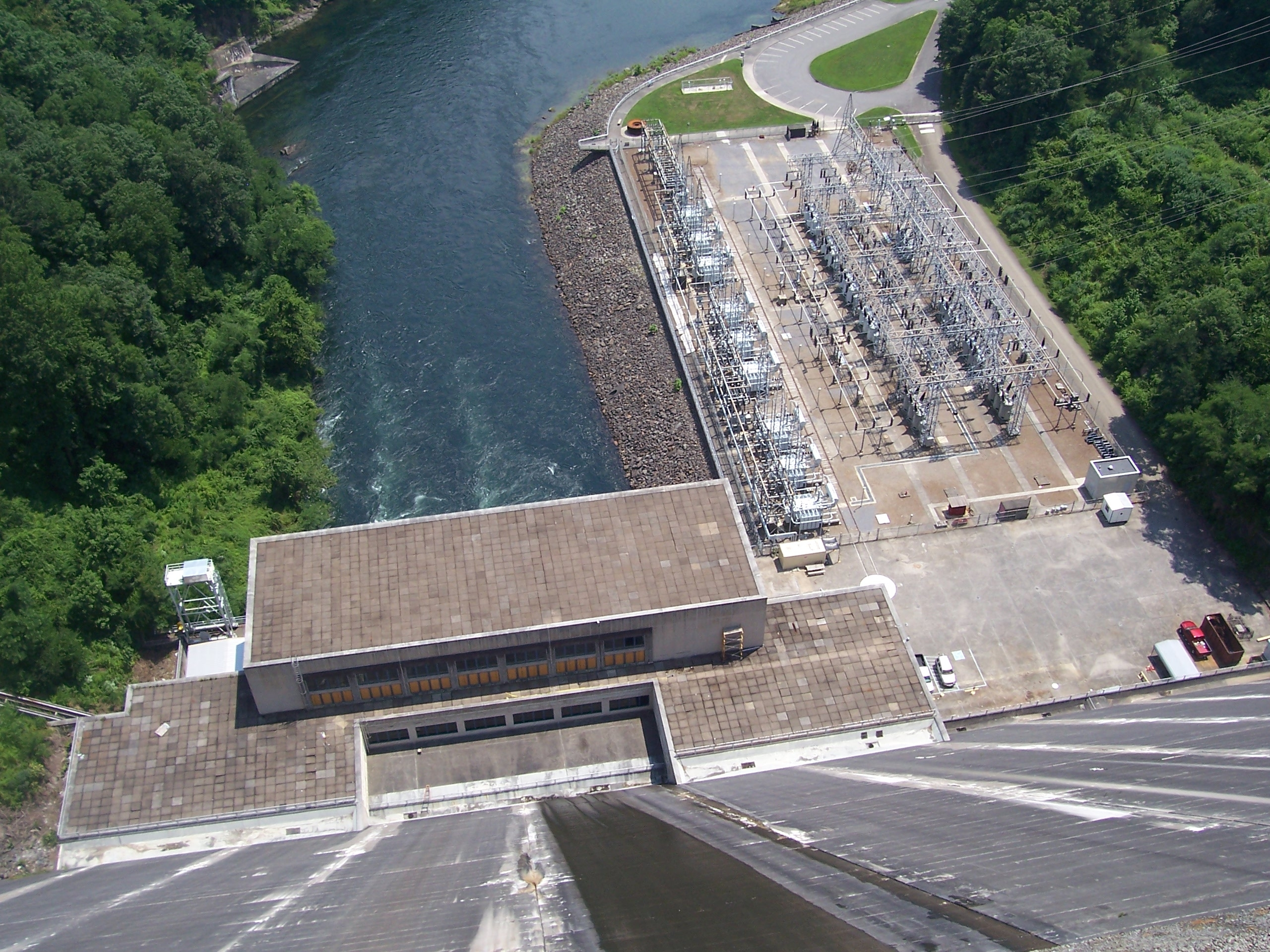 View of the power house and power yard from top of the dam.