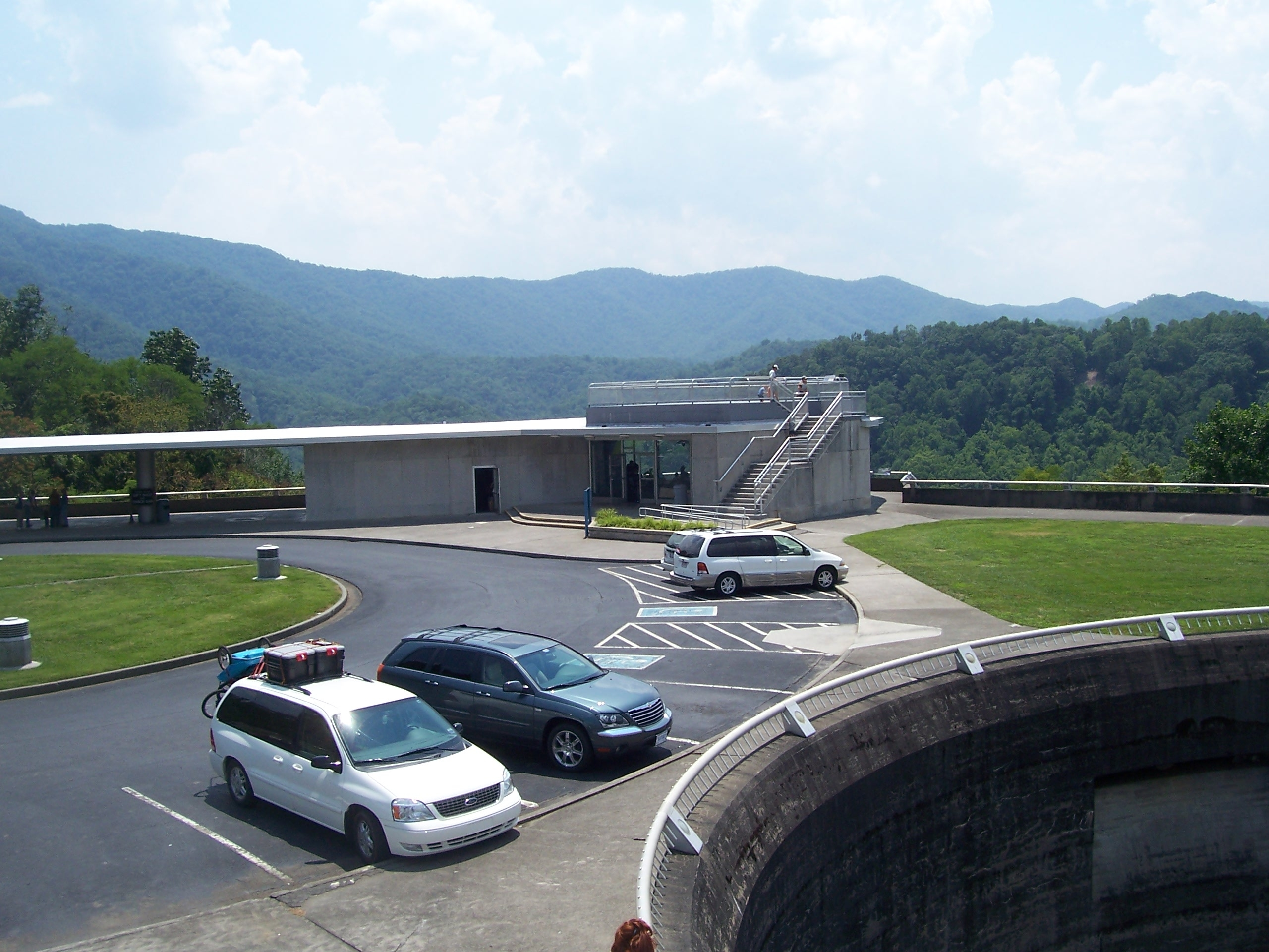 Visitors center and parking area.