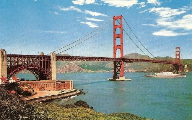 Vintage Postcard of Fort Point under southern base of the Golden Gate Bridge image. Click for full size.