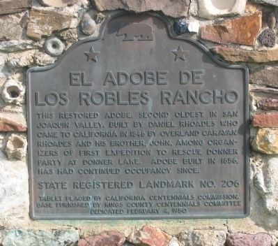 El Adobe de Los Robles Ranchos Marker image. Click for full size.