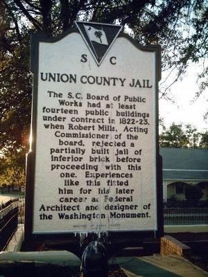 Union County Jail Marker - Front image. Click for full size.