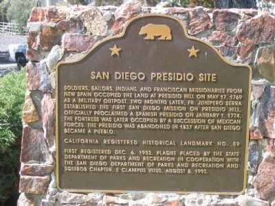 San Diego Presidio Site Marker image. Click for full size.