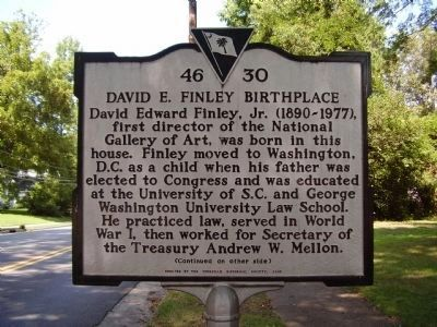David E. Finley Birthplace Marker </b>(front) image. Click for full size.