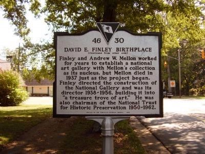 David E. Finley Birthplace Marker </b>(reverse) image. Click for full size.