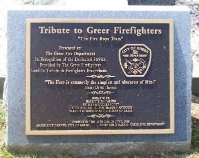 Tribute to Greer Firefighters Marker image. Click for full size.