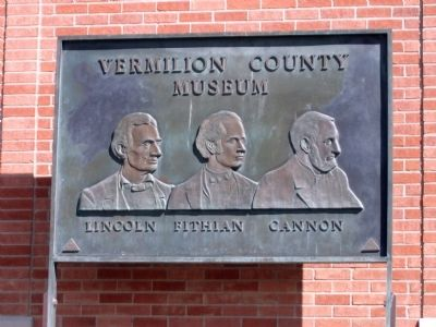 Bronze Plate at Side of  Vermilion County Museum Building. image. Click for full size.